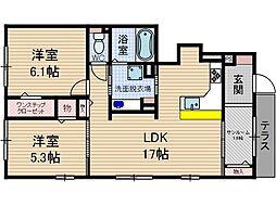 プレジール B棟[1階]の間取り