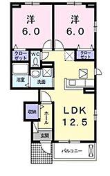 プレジール B[1階]の間取り