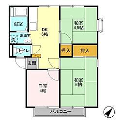花畑ロイヤルパークB[2階]の間取り