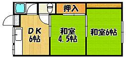 兵庫県神戸市西区枝吉2丁目の賃貸アパートの間取り