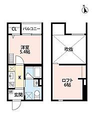 Osaka Metro四つ橋線 住之江公園駅 徒歩10分の賃貸アパート 1階1Kの間取り