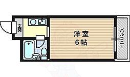 レアレア上新庄11番館 6階1Kの間取り
