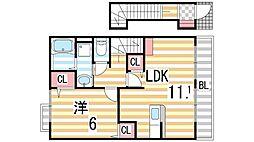 大阪府門真市北岸和田2丁目の賃貸アパートの間取り