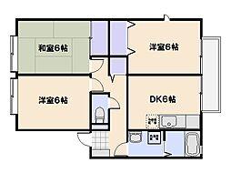 広島県廿日市市平良2丁目の賃貸アパートの間取り