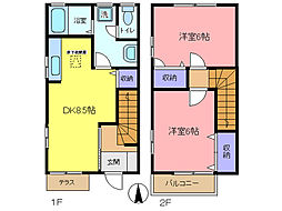 東武伊勢崎線 北春日部駅 徒歩23分の賃貸テラスハウス 2DKの間取り