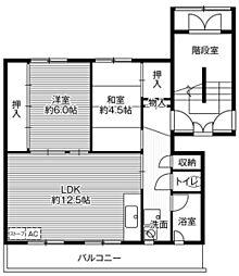 ビレッジハウス望洋1号棟 4階2LDKの間取り