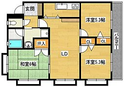 大阪府高槻市日吉台一番町の賃貸マンションの間取り