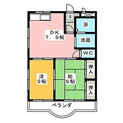 クレスト石堀山[1階]の間取り
