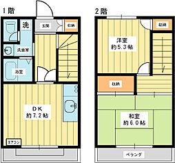 コーポ富士 1階2DKの間取り