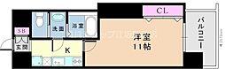阪急京都本線 崇禅寺駅 徒歩7分の賃貸マンション 9階1Kの間取り