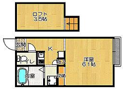 JR片町線(学研都市線) 四条畷駅 徒歩10分の賃貸アパート 2階1Kの間取り