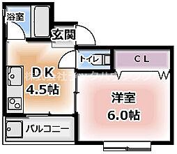 ジュノ藤田マンション 3階1DKの間取り