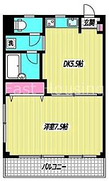 東京都中野区新井2丁目の賃貸マンションの間取り
