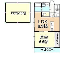 福岡県福岡市早良区賀茂3丁目の賃貸アパートの間取り