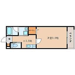JR東海道本線 静岡駅 徒歩19分の賃貸マンション 2階1Kの間取り