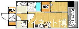 福岡市地下鉄空港線 東比恵駅 徒歩10分の賃貸マンション 8階1DKの間取り