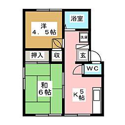 エステートピア赤井B[1階]の間取り