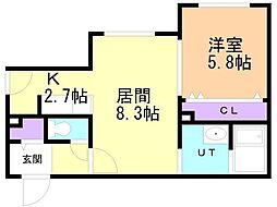 仮)中の島1-2MS 2階1LDKの間取り