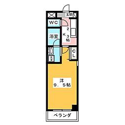 ヴァンテアン桜山 6階1Kの間取り
