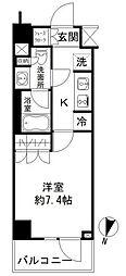 東京メトロ半蔵門線 清澄白河駅 徒歩10分の賃貸マンション 2階1Kの間取り