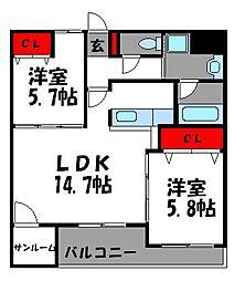 カンパーニョNo.2[3階]の間取り