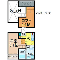 愛知県名古屋市中川区三ツ池町2丁目の賃貸アパートの間取り