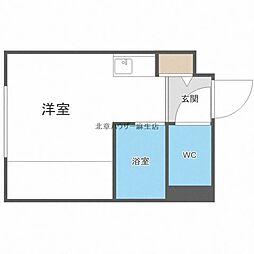 ゲストハウス花川 4階ワンルームの間取り
