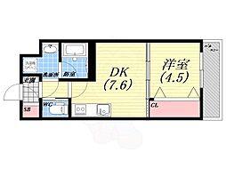 阪急今津線 甲東園駅 徒歩17分の賃貸アパート 2階1DKの間取り