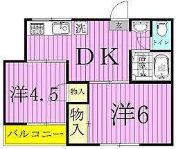 ペリーハイム新松戸[201号室]の間取り