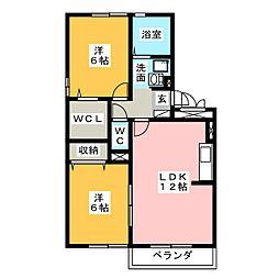 岐阜県美濃加茂市山手町2丁目の賃貸アパートの間取り