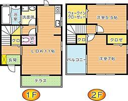 ベルドミール B棟[2階]の間取り
