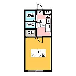 愛知県名古屋市中川区長良町1の賃貸アパートの間取り