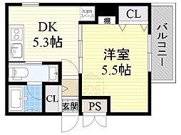 アーキグレイス新大阪[5階]の間取り
