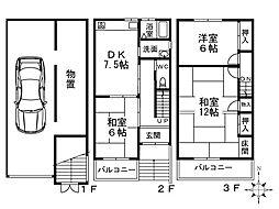 [一戸建] 大阪府大阪市西成区天下茶屋東2丁目 の賃貸【大阪府 / 大阪市西成区】の間取り
