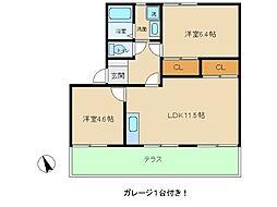 兵庫県明石市鳥羽の賃貸アパートの間取り