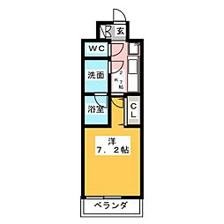 CREVISTA練馬桜台II 2階1Kの間取り