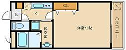近鉄大阪線 河内国分駅 徒歩5分の賃貸マンション 2階1Kの間取り