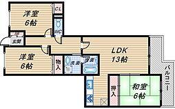 リブレ上野東[303号室]の間取り