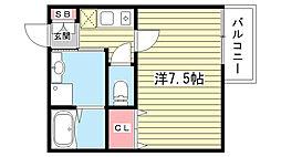 大阪府豊中市末広町3丁目の賃貸アパートの間取り