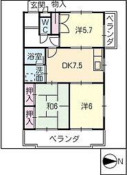 プリムローズ伏見[3階]の間取り