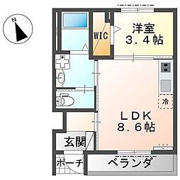 JR東海道本線 茅ヶ崎駅 バス15分 番場下車 徒歩4分の賃貸アパート 1階1LDKの間取り
