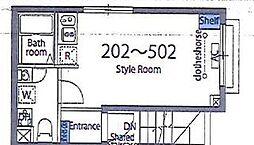 都営大江戸線 新御徒町駅 徒歩4分の賃貸マンション 2階ワンルームの間取り