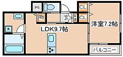 阪急神戸本線 六甲駅 徒歩7分の賃貸アパート 2階1LDKの間取り