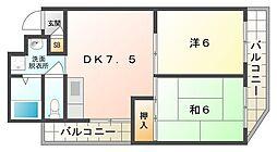コーポARAMAN 2階2DKの間取り