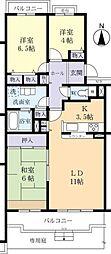 茨城県つくばみらい市絹の台3丁目の賃貸マンションの間取り