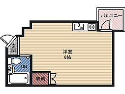 コスモハイツ今福 4階ワンルームの間取り