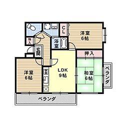 メゾンソレイユ1号館[4階]の間取り