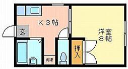 岡山県岡山市北区伊島町2丁目の賃貸アパートの間取り