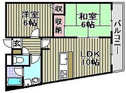 白水マンション1号館[403号室]の間取り