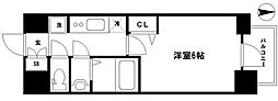 プレサンス松屋町ヴェルデス 3階1Kの間取り